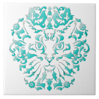 Cat Damask Ceramic Tile
