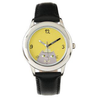 Cat Dandy Stripes Retro Vintage Cute Funny Yellow Watch