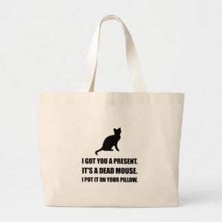 Cat Dead Mouse Pillow Large Tote Bag