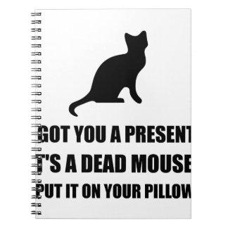 Cat Dead Mouse Pillow Spiral Notebook