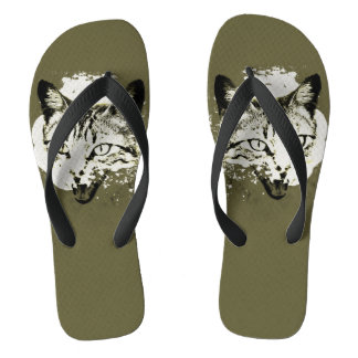 Cat design in Olive Green Flip Flops
