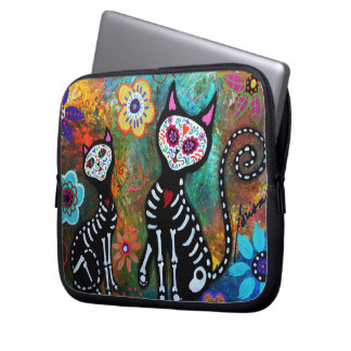 CAT DIA DE LOS MUERTOS LAPTOP SLEEVES