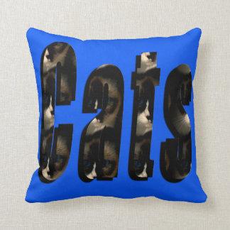 Cat Dimensional Logo, Blue Throw Cushion. Throw Pillow