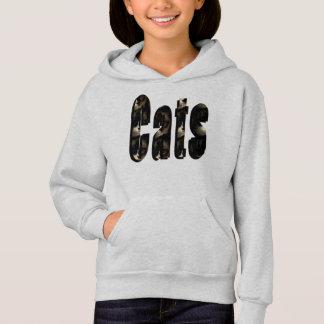 Cat Dimensional Logo, Girls Grey Hoodie