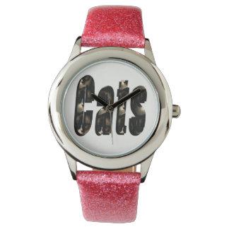 Cat Dimensional Logo, Girls Pink Glitter Watch
