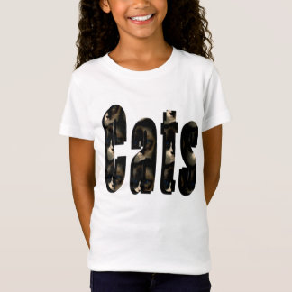 Cat Dimensional Logo, Girls White T-shirt