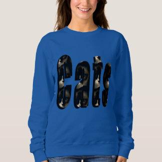 Cat Dimensional Logo, Ladies Blue Sweaatshirt Sweatshirt