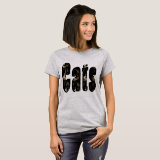 Cat Dimensional Logo, Ladies Grey Tshirt. T-Shirt