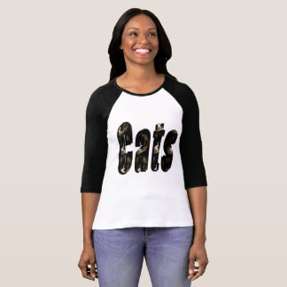 Cat Dimensional Logo, Ladies Raglan Tshirt. T-Shirt