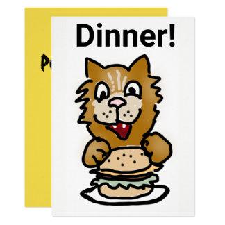 Cat Dinner Invitation cartoon card