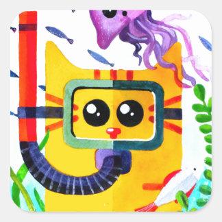 Cat Diver Square Sticker
