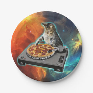 Cat dj with disc jockey's sound table 7 inch paper plate