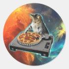 Cat dj with disc jockey's sound table classic round sticker