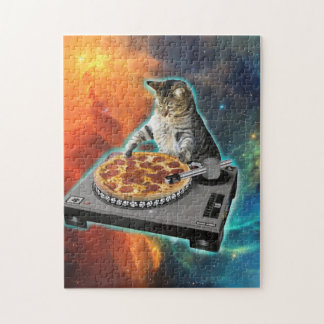 Cat dj with disc jockey's sound table jigsaw puzzle