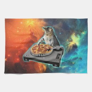 Cat dj with disc jockey's sound table kitchen towel