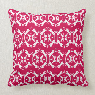 Cat & Dog Damask in Red Throw Pillow
