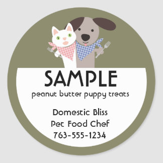 cat dog homemade pet food chef package stickers... classic round sticker