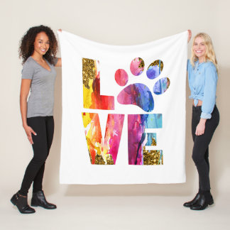 Cat, Dog Lover Paw. Watercolor Art Fleece Blanket