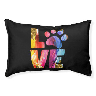 Cat, Dog Lover Paw. Watercolor Art Pet Bed