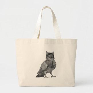Cat Doing Bird Large Tote Bag