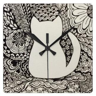 Cat Doodle Wall Clock