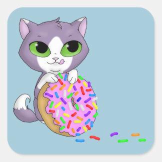 Cat & Doughnut Square Sticker