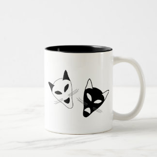Cat Drama Masks Two-Tone Coffee Mug