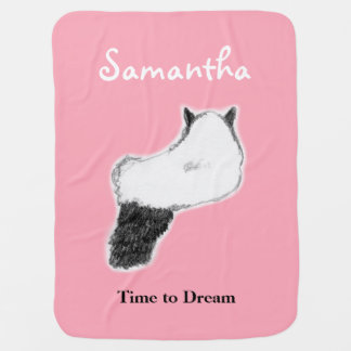 Cat Dreaming Baby Blanket, Customizable Baby Blanket