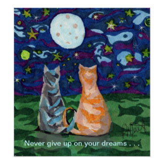 Cat Dreams and Full Moon Poster