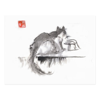 Cat Drinking Water Art Postcard