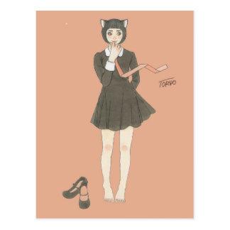 Cat ear black wanpi & necktie postcard