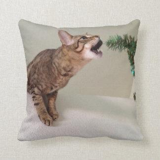 Cat Eating Christmas Tree Throw Pillow