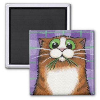 Cat Eating Grass Magnet