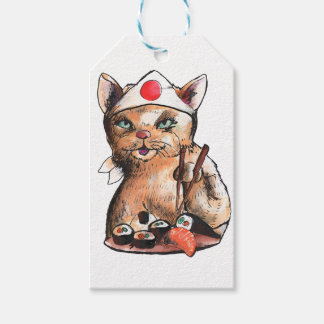 cat eating sushi gift tags
