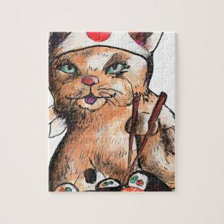 cat eating sushi jigsaw puzzle