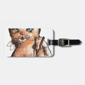 cat eating sushi luggage tag