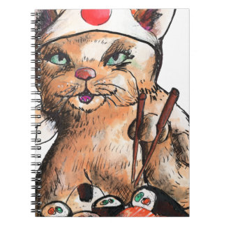 cat eating sushi notebook