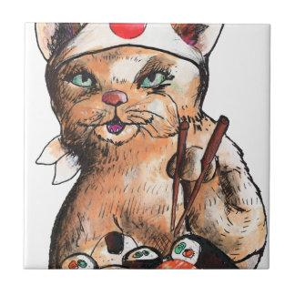 cat eating sushi tile