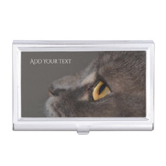 Cat Eye-Macro by Shirley Taylor Business Card Holder