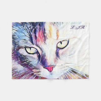 Cat eyes Fleece Blanket with your initials