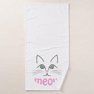 Cat face bath towel