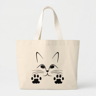 cat face  black and white large tote bag