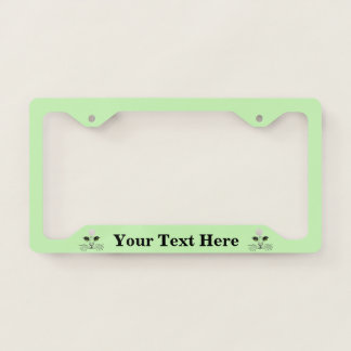 Cat Face Black Drawing Intense Eyes Light Green License Plate Frame