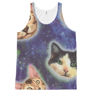 cat face - cat - funny cats - cat space All-Over-Print tank top