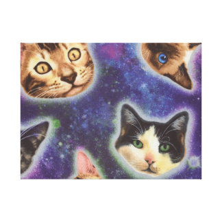 cat face - cat - funny cats - cat space canvas print
