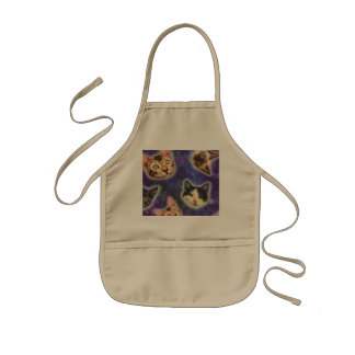 cat face - cat - funny cats - cat space kids apron