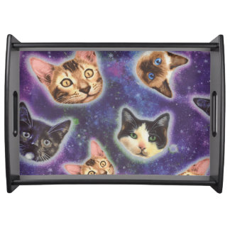 cat face - cat - funny cats - cat space serving tray
