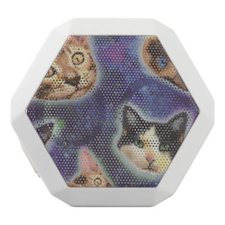 cat face - cat - funny cats - cat space white bluetooth speaker