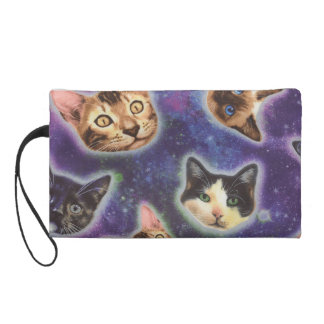 cat face - cat - funny cats - cat space wristlet