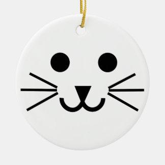 Cat Face Ceramic Ornament
